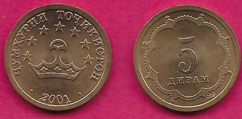 TAJIKISTAN 5 DRAMS 2001 UNC CROWN WITHIN 1/2 STAR BORDER,SMALL VALUE WITHIN DESI
