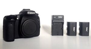 Used Canon EOS 70D Camera Body + 2 Batteries & Charger + strap