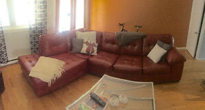 Red leather sectional For Sale - Delivery incl.