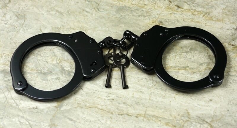 Black Police Cop Sheriff Officer Cosplay Handcuffs Hand Cuffs Heavy Duty Real
