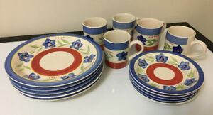 5-person 15-piece dinnerware floral accents