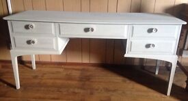 Beautiful upcycled Stag dressing table, side board, Soft Grey & Silver
