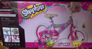 "Kids Girls 16"" Shopkins Bike Pink Purple New in the box"