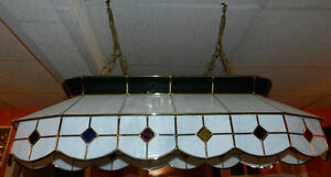 Beauty Pearl White Stained Glass/Brass Pool Table Chandelier