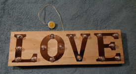 Wooden 'LOVE' standing sign. PRICE NEGOTIABLE