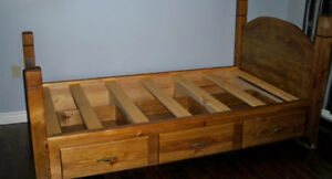 Twin Bed, Custom made Solid Pine Walnut Stain 3 drawers