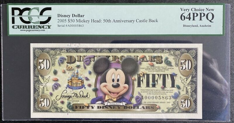 2005 Disney 50th Anniversary series PCGS 64PPQ $50 Mickey Mouse Note