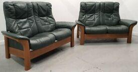 Ekornes Stressless 2 x 2 seater recliner leather sofas Green 2712206