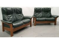 Ekornes Stressless 2 x 2 seater recliner leather sofas Green 2712206