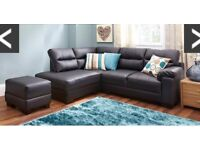 NEW BLACK LEATHER CORNER SOFA - BEAUTIFUL BALCK - FREE DELIVERY - RRP £599