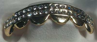 BEST GRILLZ GOLD W/ CLEAR RHINESTONES COSTUME JEWELRY PIMP