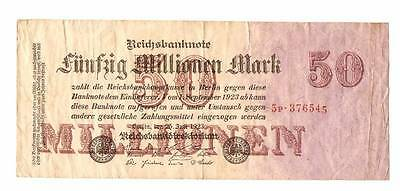 1923 Germany Weimar Republic 50.000.000 / 50 million mark banknote