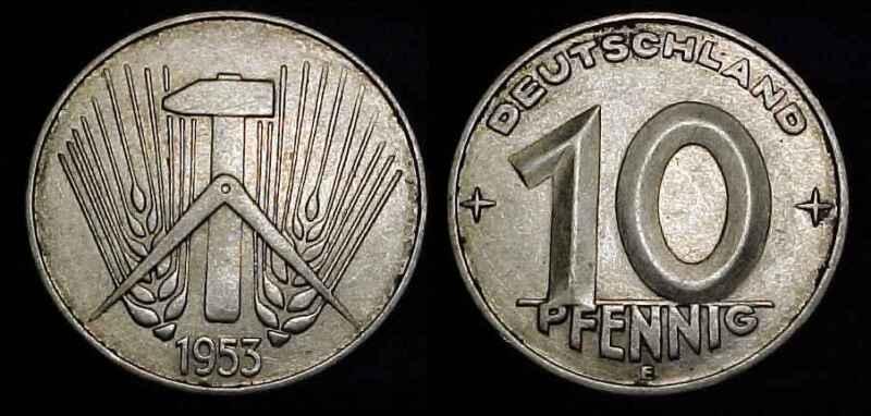 EAST GERMANY 1953 E 10 Pfennig XF