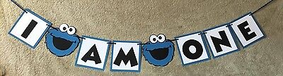 High Chair Banner (Cookie Monster I am (age) banner. You pick age. High chair)