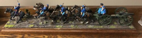 BUSSLER TOY SOLDIER GALLOPING ACW MOUNTED CAISSON/RIDERS, W/MOUNTED OFFICER 1954