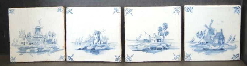 Four Antique Blue Delft Scenic Tiles