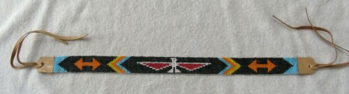 Vintage Sioux Indian Bead Beaded Beadwork Hat Band Necklace Route 66 Souvenir