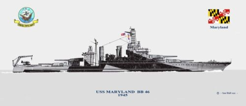 USS Maryland BB-46 in 1945 1941 us Navy