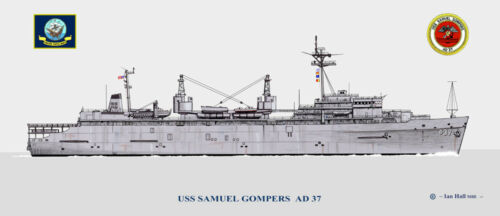 USS Samuel Gompers AD 37 Ship Print US Navy