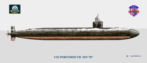 USS Portsmouth SSN-707 Ship Print US Navy