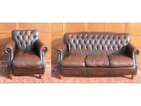 CHESTERFIELD SUITE,Cigar Brown Leather Sofa,Club Chair/Armchair,Studded Vintage,like Laura Ashley