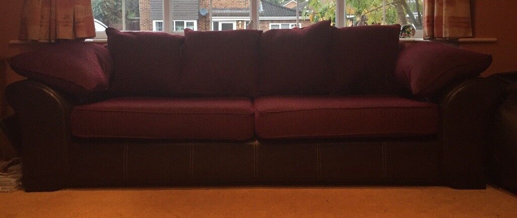 Cuddle sofa and large settee leather & fabric