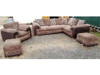 Corner Sofa. Armchair and 2 X Large Footstool Chocolate/Brown