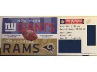 NFL Twickenham Giants vs Rams Twickenham 2xtickets West Lower Block L10 Row22