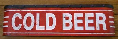 Large COLD BEER Metal Sign - Vintage Distressed Look -Bars Taverns Pubs Man Cave