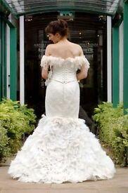 Bespoke handmade (size 10*) fishtail style wedding dress (corset, skirt & detachable veil)