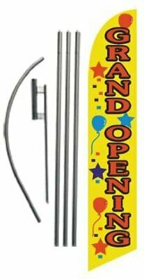Grand Opening Advertising Feather Banner Swooper Flag Sign With Flag Pole Kit...
