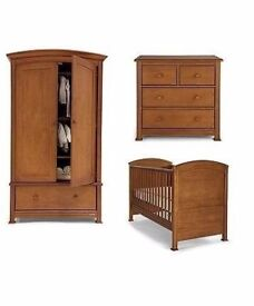 Mamas & Papas Summerhouse Nursery Furniture Collection Mahogany Brown. Cot, Wardrobe, Chest, Changer