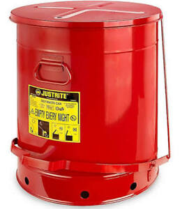 Justrite 21 Gallon Oily Waste Can With Foot Operated Cover Red