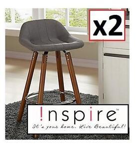 "2 NEW INSPIRE COUNTER STOOLS - 109799334 - Camaro Ii-26"" Counter Stool-Grey-"