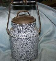 Grey Granite Pail with metal  lid and bail handle