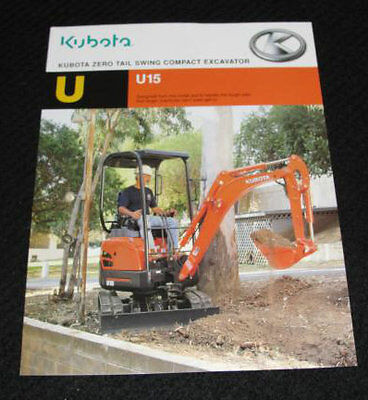 Original Kubota U15 U 15 Zero Tail Swing Compact Excavator Catalog Brochure