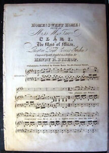 CIRCA 1820s AMERICAN EDITION HOME SWEET HOME SHEET MUSIC JOHN HOWARD PAYNE
