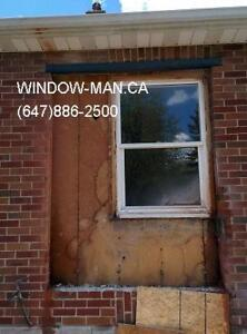 concrete door Cut egress brick sliding windows  Installed
