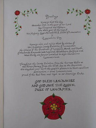 Lancashire Day Calligraphy