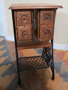 Tables re-purposed from Singer treadle sewing machine tables