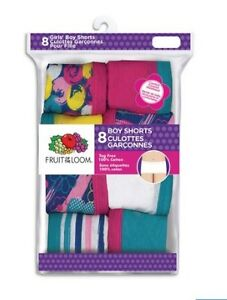 Girls 8 pack Boy shorts ( Fruit of the Loom)
