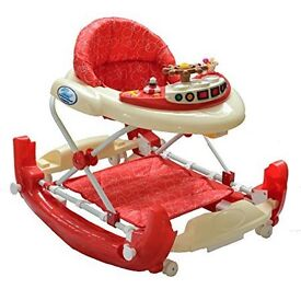 Bebe Style Deluxe Baby Ship Walker And Rocker (Red/ White)