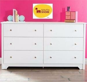 NEW SOUTH SHORE 6-DRAWER DRESSER WHITE   CHEST - WHITE VITO COLLECTION - DOUBLE DRESSER HOME BEDROOM FURNITURE 91970255