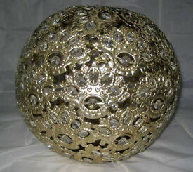 Beautiful Laura Ashley hand crafted gold metal flower ball ceiling pendant light with crystals