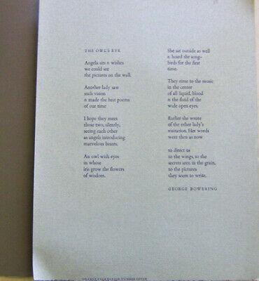 George Bowering / The Owl's Eye Broadside Poem First Edition](Owl Poem)