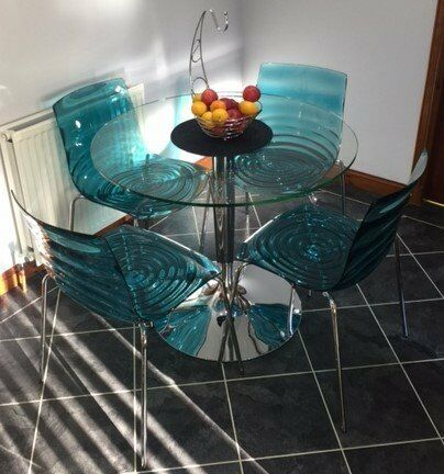 calligaris round glass table and l eau chairs 90cm diameter in