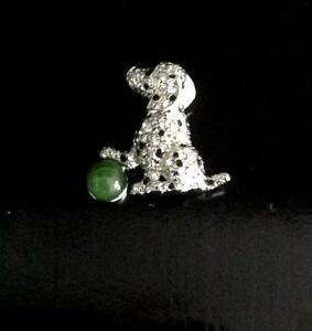 Women's Dalmatian Dog with Jade Ball Brooch