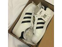 Adidas Superstars genuine white black trainers all sizes available