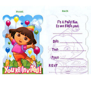 DORA THE EXPLORER BIRTHDAY PARTY INVITATIONS INVITES 8 PACK