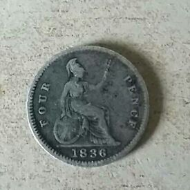 1836 William IV Silver Groat Fourpence Coin